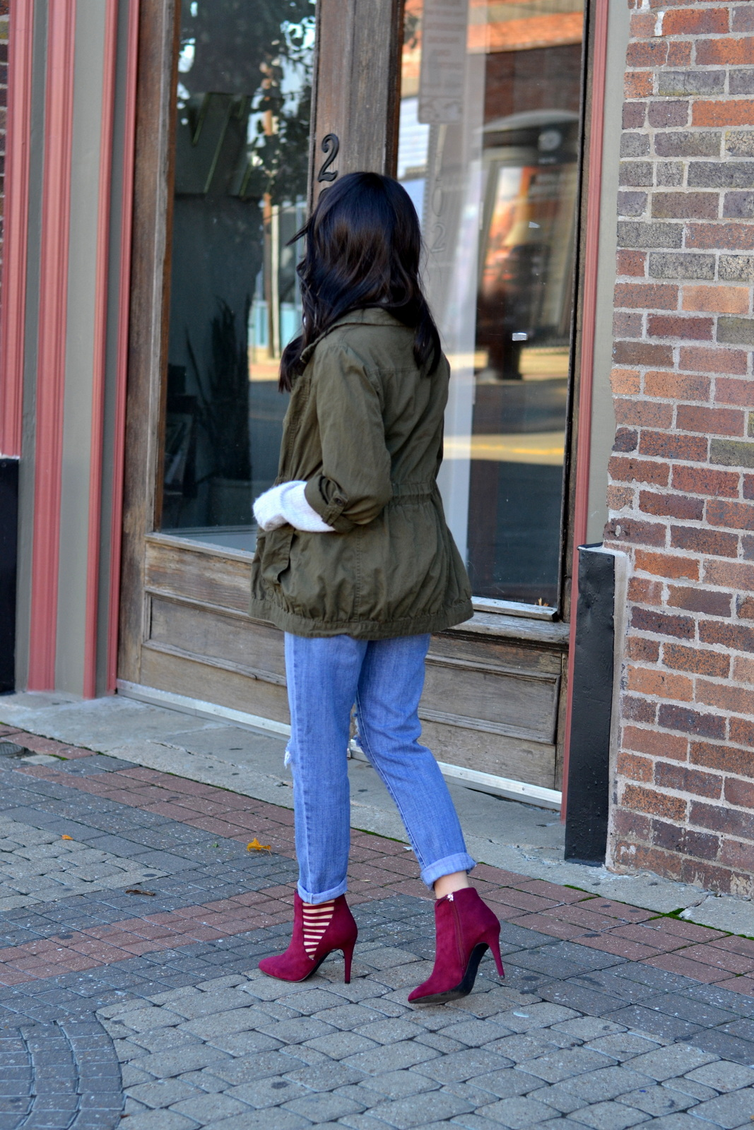 Maroon Booties_Olive Jacket_Fall Style