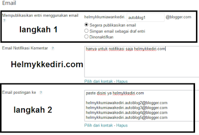 Publikasikan entry lewat email