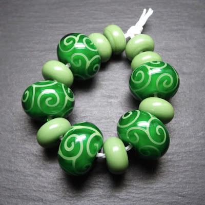 Lampwork glass beads made in Creation is Messy 'Envy'