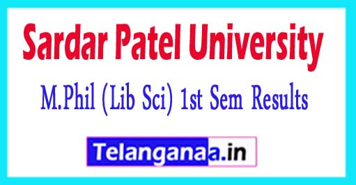 Sardar Patel University M.Phil (Lib Sci) 1st Sem 2018 Exam Results