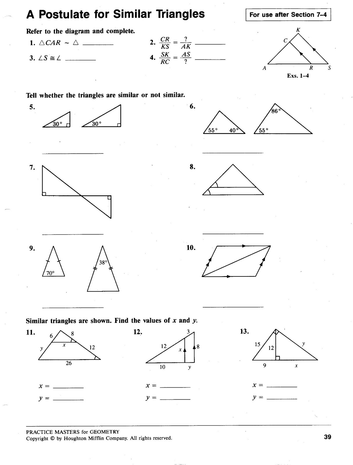 triangle similarity worksheet Termolak – Geometry Worksheet Congruent Triangles Answers