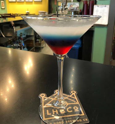 Captain America drink at Flying Saucer Pizza Company