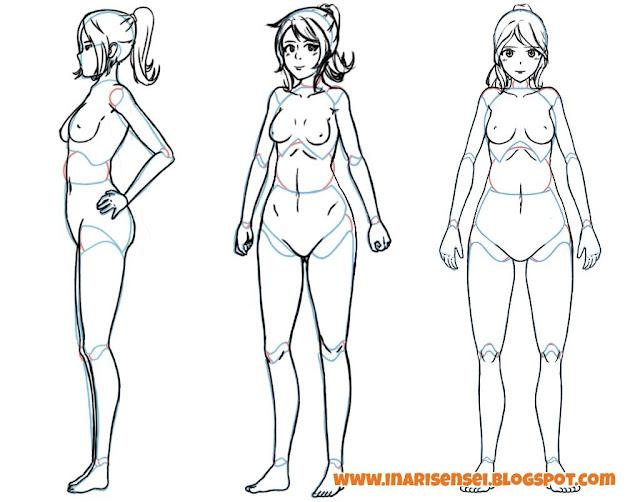 Dessiner un corps manga: dessiner le corps par dessus la version 3d