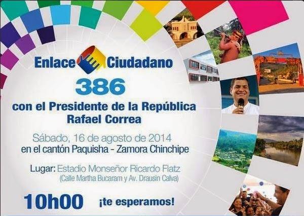 cadena sabatina de Correa 386 desde Paquisha