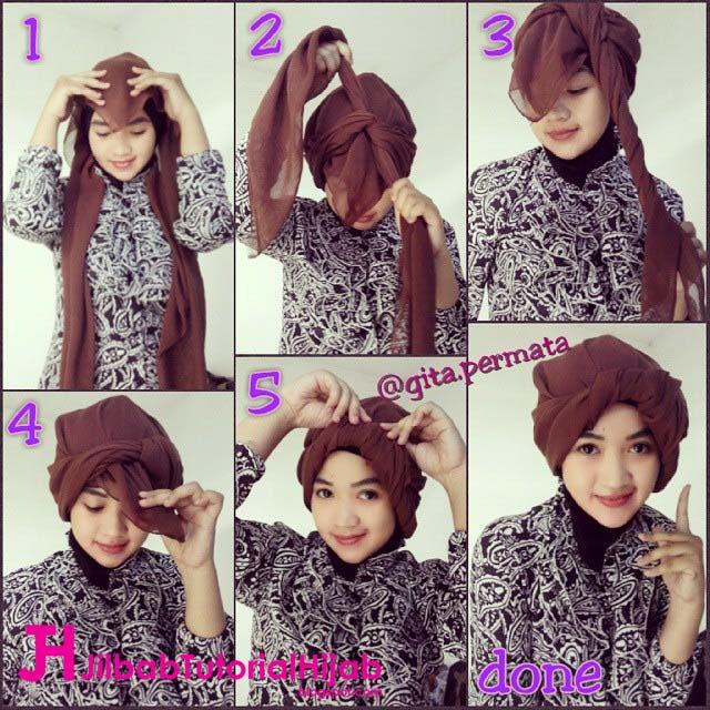Tutorial Hijab Turban Segi Empat Simple Jilbab Tutorial Hijab