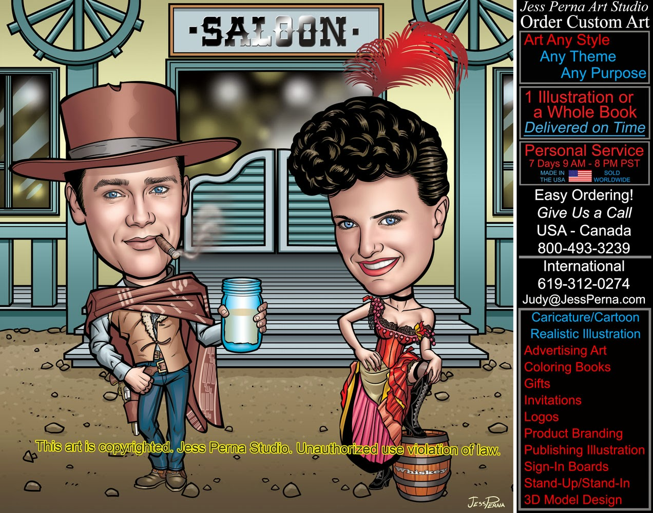 How To Order Ad Cartoons And Caricatures Old West Saloon