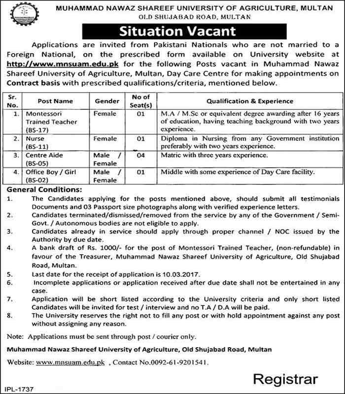 Muhammad Nawaz Sharif University of Agriculture Jobs 2017