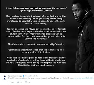Spurs statement on Ugo Ehiogu's death