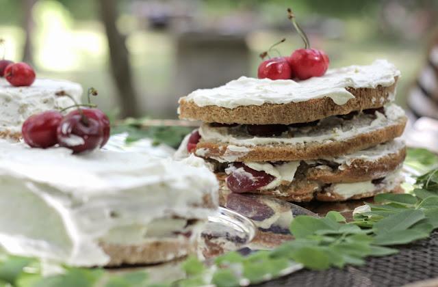 tarta de cereza y mascarpone