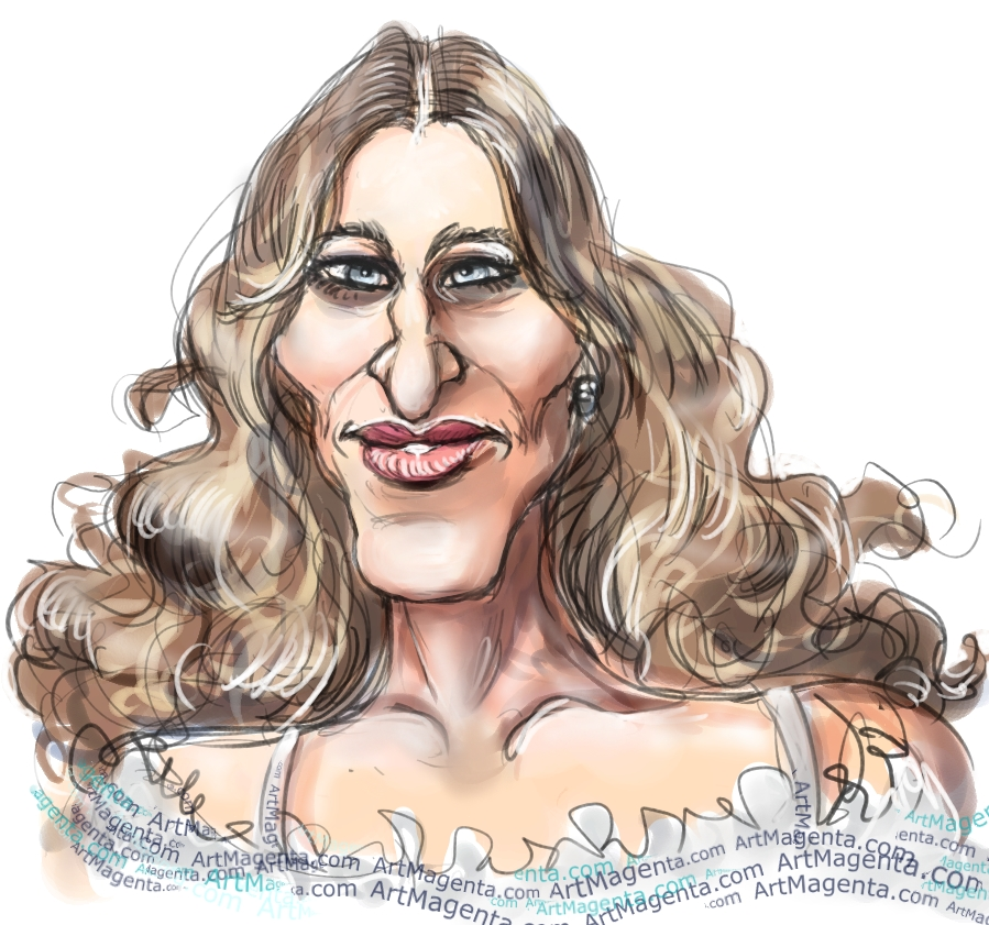 Sarah Jessica Parker caricature cartoon. Portrait drawing by caricaturist Artmagenta