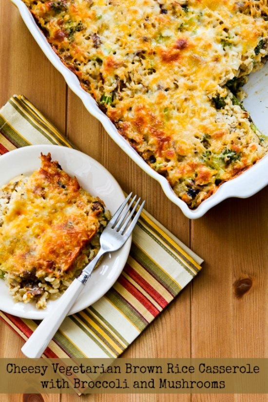 Cheesy Vegetarian Brown Rice Casserole with Broccoli and Mushrooms found on KalynsKitchen.com