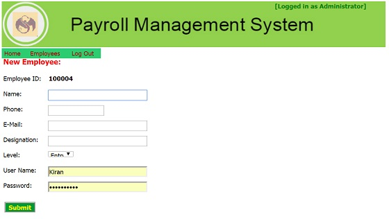 Admin Module - Payroll Management System Project in Asp.Net