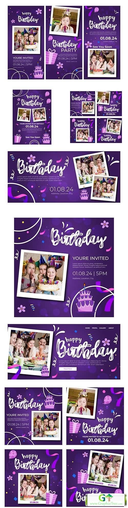 Children's birthday banner and instagram posts