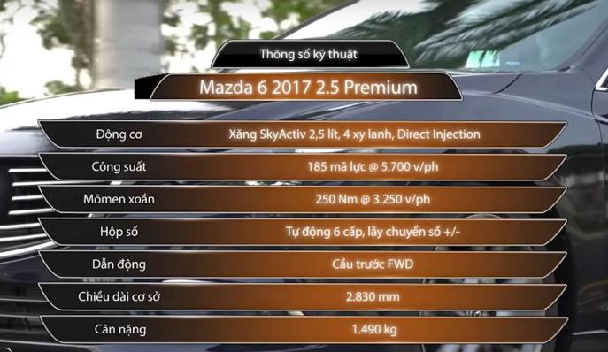 Thông số kỹ thuật Mazda 6 2.5 2017