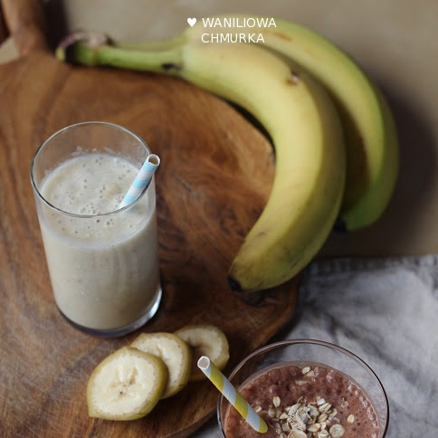 Koktajl bananowy na dwa sposoby: z kaszą jaglaną i płatkami owsianymi