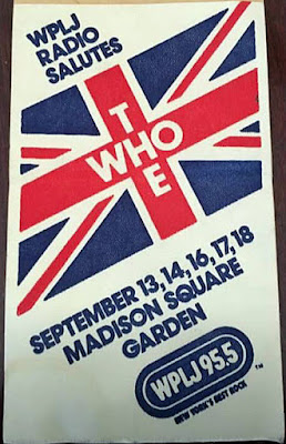 Cloth sticker for THE WHO shows at Madison Square Garden September 1979 given out by WPLJ 95.5 when they were still a rock radio station!