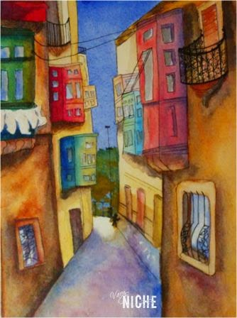 Watercolor of a view down a street, rendition by Shari Monner, VaryNiche.com