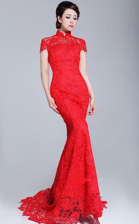 Robe de mariée chinoise à col mao