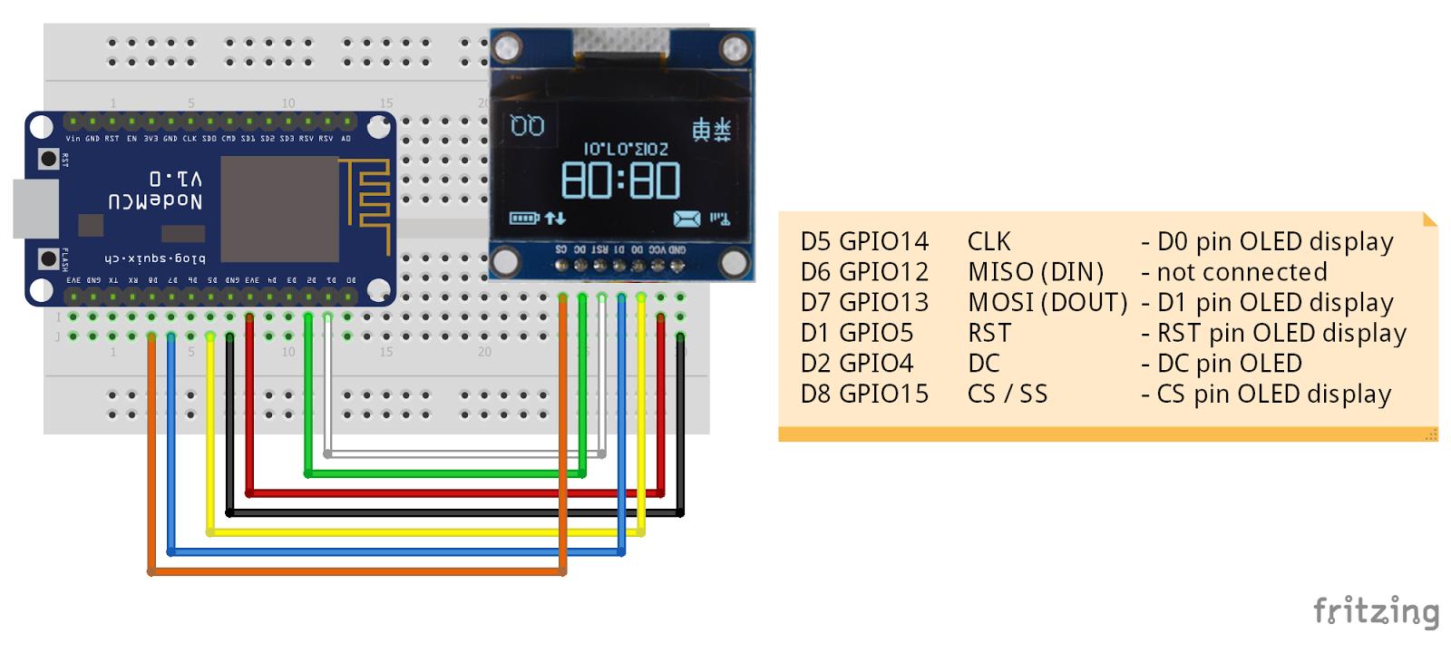 Arduino-er: NodeMCU/ESP8266 + OLED 1 3