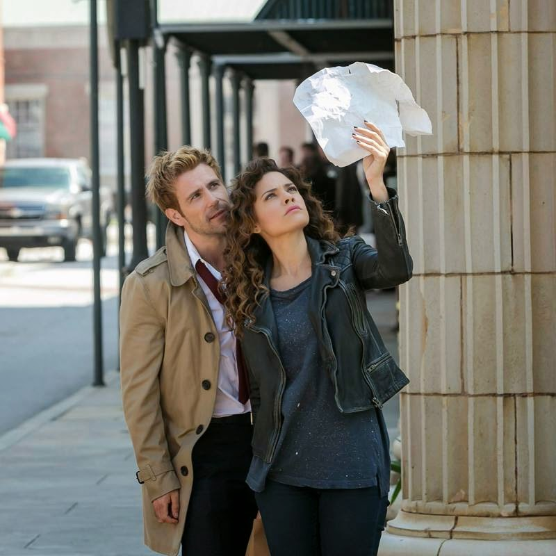 Matt Ryan as John Constantine with Angelica Celaya as Zed Martin in NBC Constantine Season 1 Episode 2 The Darkness Beneath