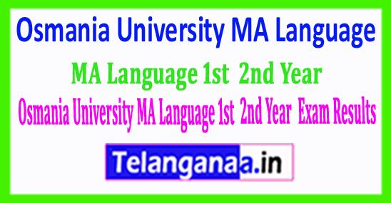 Osmania University MA (Language) 1st 2nd Year 2018 Exam Results