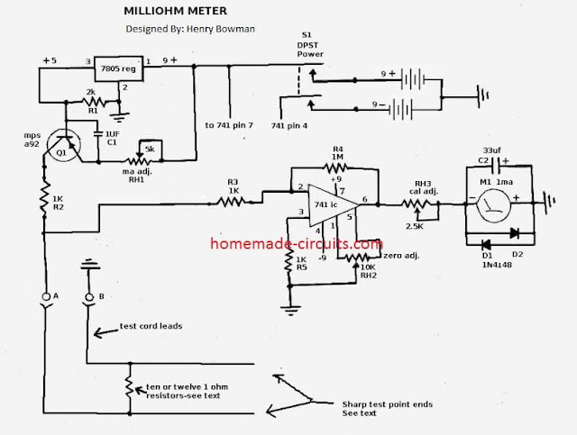 milliohm tester is powered by two 9 volt dry cells