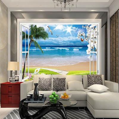 fönster tapet tropisk fototapet strand hav palmer utsikt