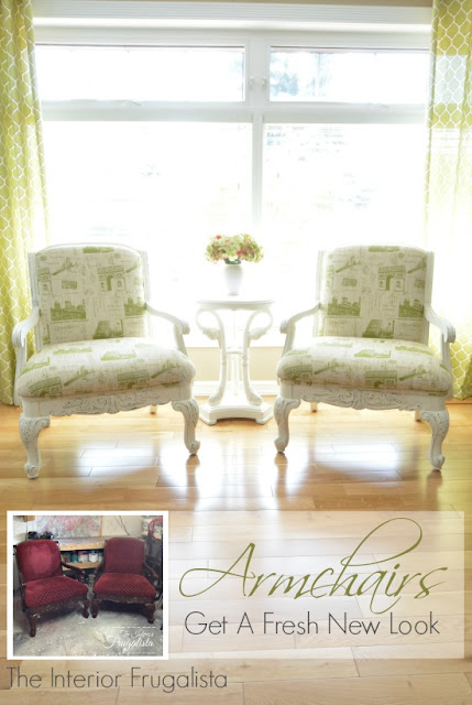 Two Armchairs After A White and Green Parisian Makeover
