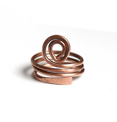 Bold Copper Spiral Wrap Ring