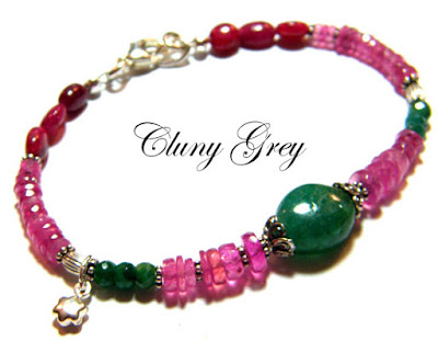 ruby bracelet with emeralds and sterling silver