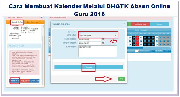 Kalender Melalui DHGTK Absen Online Guru 2018