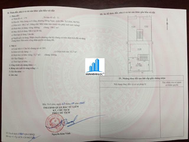 Mẫu Sổ Đỏ Riêng của 1 căn hộ bên Chủ Đầu Tư Minh Đại Lộc đã tách