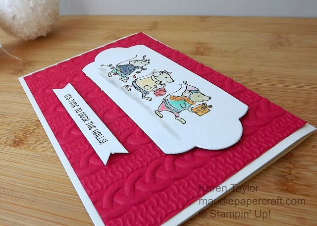 Stampin' Up! Merry Mice card with Cable Knit embossing folder