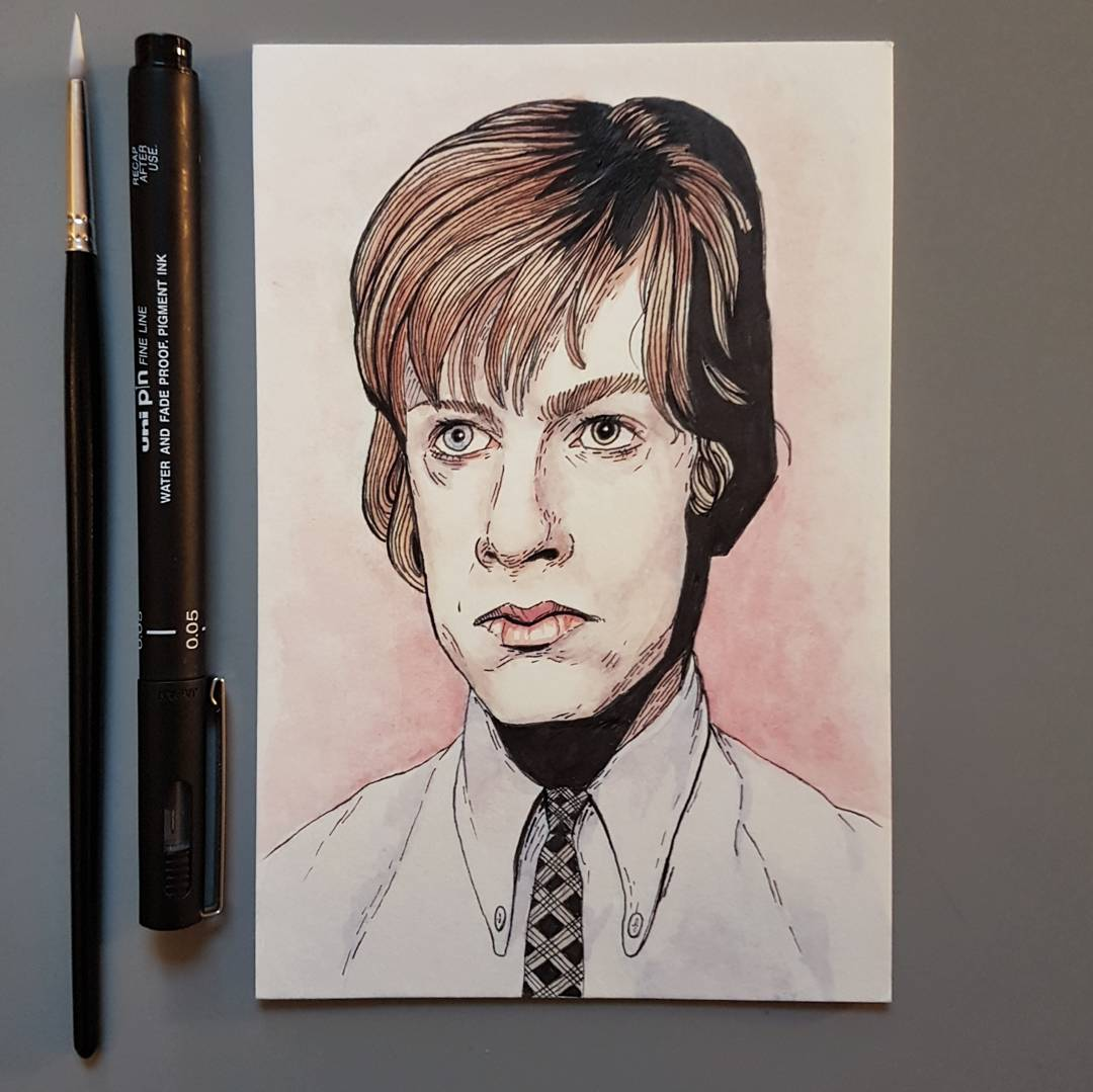 watercolour David Bowie 18 years old