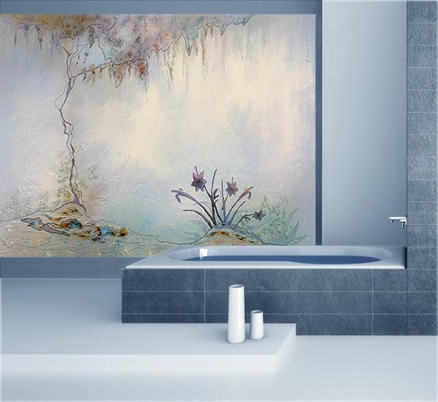 Décor mural bleu pour une salle de bains zen