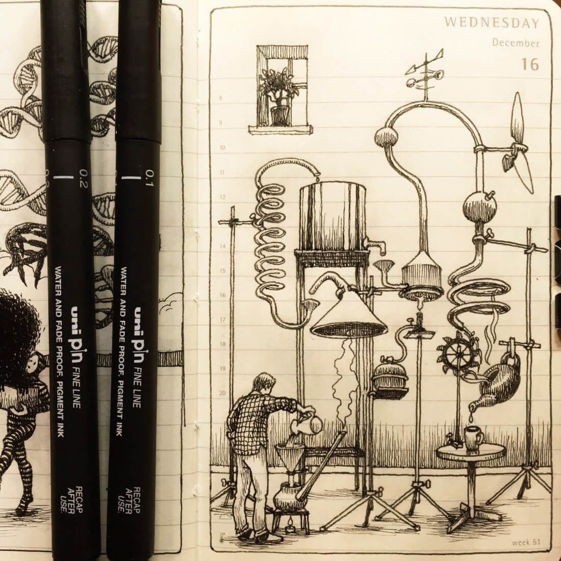 03-Simple-and-Complex-Nina-Johansson-Moleskine-Diary-of-Surreal-Ink-Drawings-www-designstack-co
