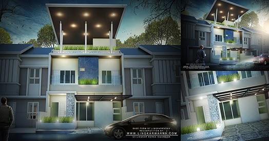 rumah minimalis dua lantai dengan atap terbuka
