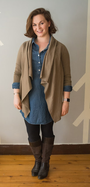 chambray shirtdress, bobeau cardigan, ootd, bobeau outfit, j crew shirtdress, chambray, brown and blue outfit, easy spirit, boots, apple watch