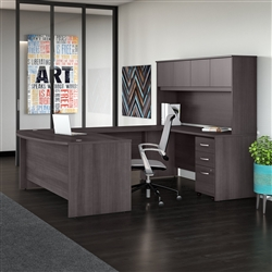 gray U shaped office desk