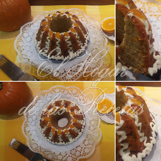 Bizcocho de calabaza y naranja horneado en un molde bundt de silicona y decorado con frosting de queso y naranja confitada