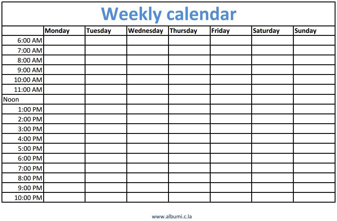 Weekly calendars with times printable | calendars 2017 kalendar 2017 ...