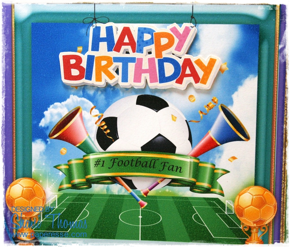 FOOTBALL LOVER 3D CARD TOPPER BIRTHDAY//FATHERS DAY