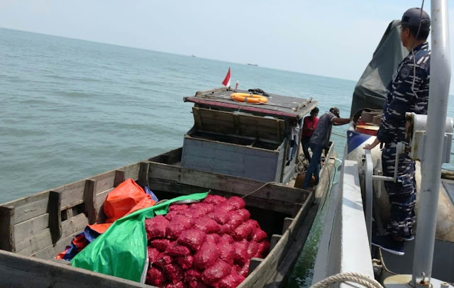 Koarmada I Tangkap Kapal Muat Bawang Merah Ilegal dari Malaysia