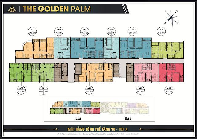 Thiết kế mặt bằng tầng 10 - tòa tháp A Tổng quan The Golden Palm Lê Văn Lương