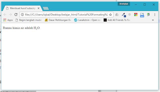 membuat huruf subscript di html
