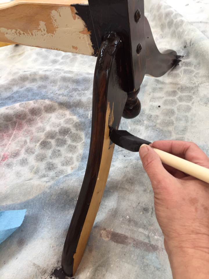 Brushing on Java Gel stain for a base coat