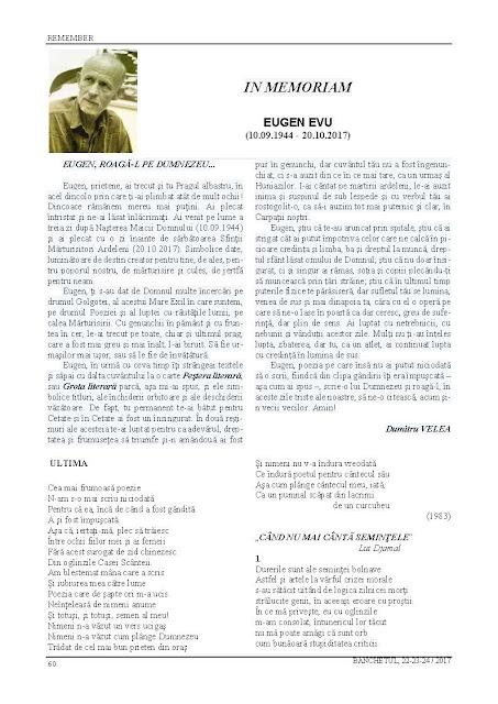 Dumitru Velea: Eugen Evu - In memoriam