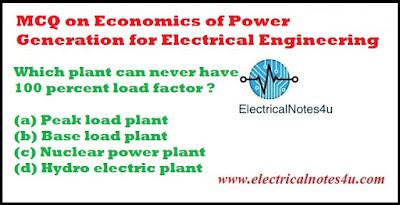 MCQ on Economics of Power Generation