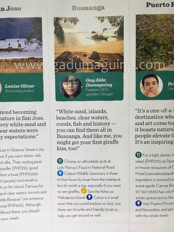 I'm on Cebu Pacific Airline's Smile Magazine January 2016 Issue