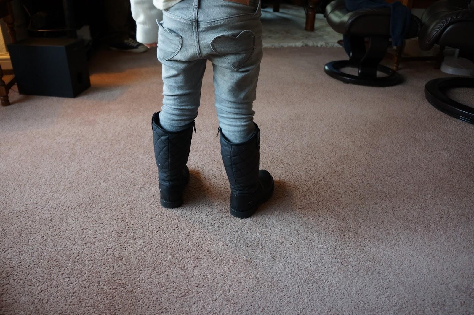 heart shaped pockets on kids grey jeans